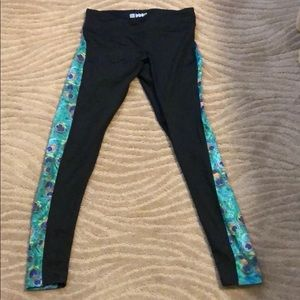 Workout Leggins blk green peacock feathers panels
